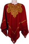Dark Red Designer Wool Poncho