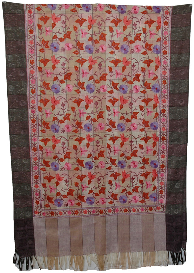 Graceful  Embroidery Indian Shawl, Ash Floral Embroidered Stole