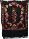 Black Floral Embroidered Shawl
