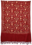 Mexican Red Floral Embroidered Shawl