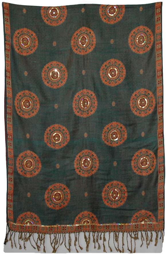 Stylish Indian Shawl with Sequins, Timber Green Floral Shawl Stole