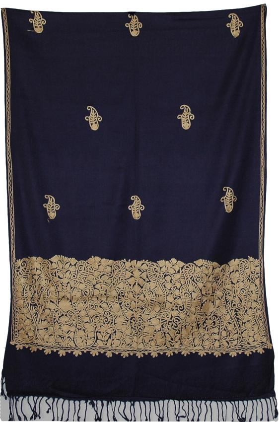 Embroidery Kashmir Blue Shawl, Ebony Clay Floral Shawl