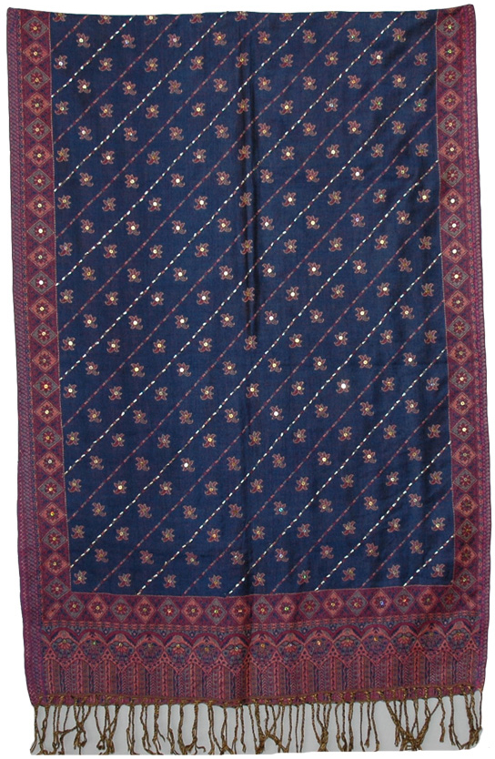 Pretty Indian Sequin Shawl, East Bay Floral Sequins Shawl Stole