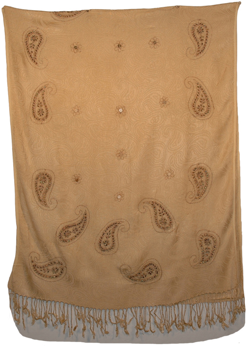 Stylish Indian Golden Shawl with Sequins, Twine Floral Shawl Stole