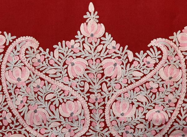 Tamarillo Floral Embroidered Shawl