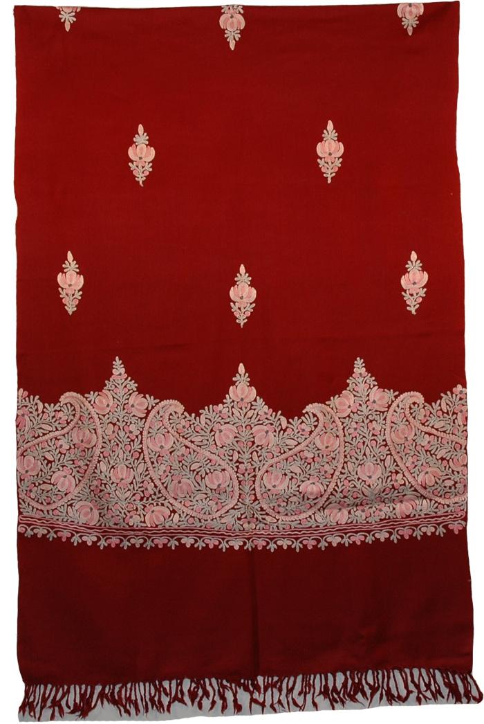 Beautiful Embroidery Indian Kashmir Maroon Shawl, Tamarillo Floral Embroidered Shawl