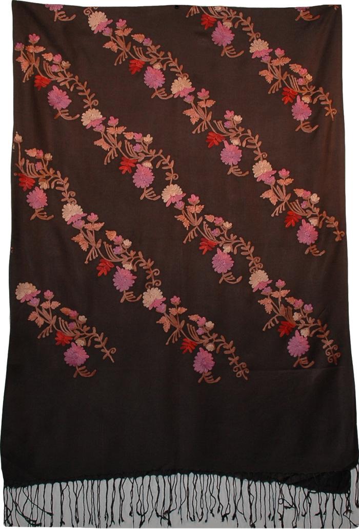 Pastel Embroidery Black Indian Wool Shawl, Zambezi Floral Embroidered Shawl