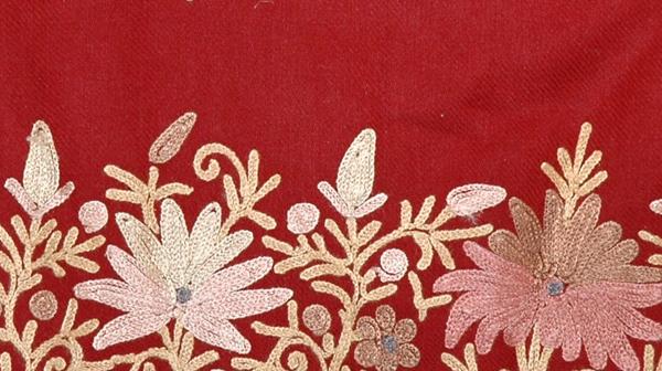 Dark Burgandy Floral Embroidered Shawl