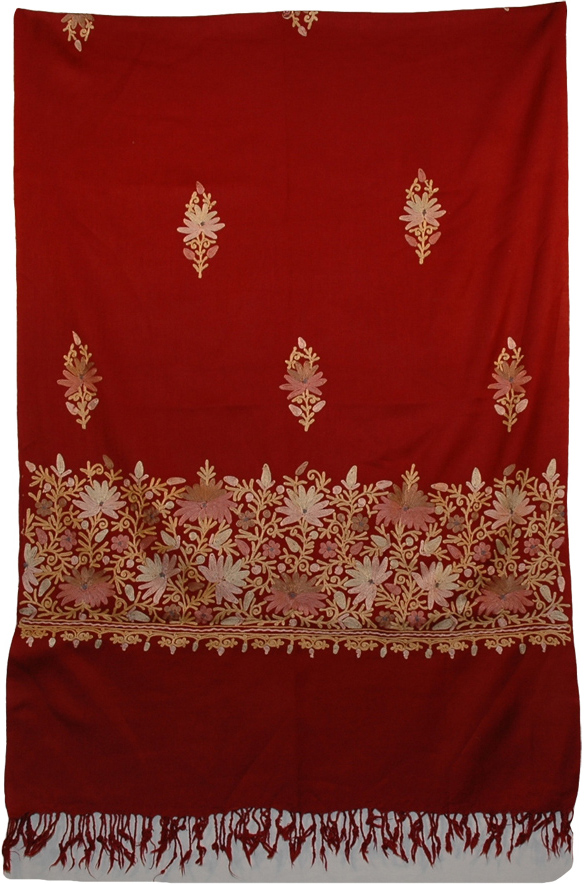 Brick Red Embroidery Indian Kashmir Shawl, Dark Burgandy Floral Embroidered Shawl