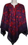 Indigo Designer Wool Poncho