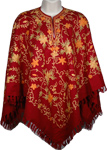 Dark Burgandy Designer Wool Poncho