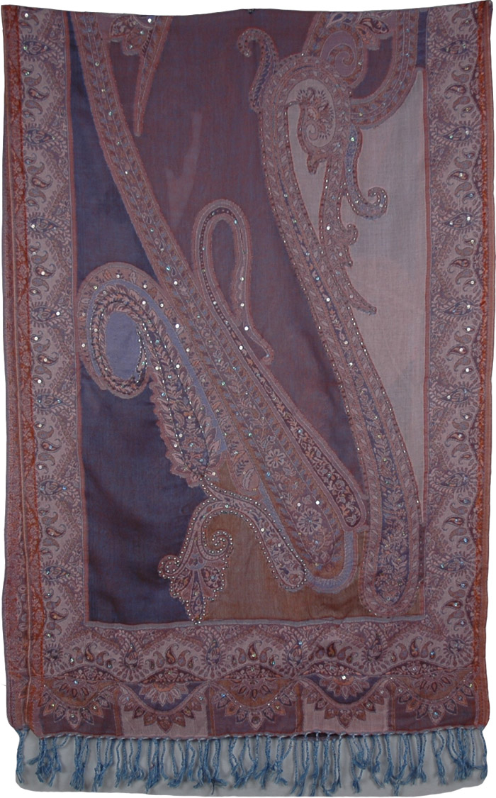 Indian Sequin Shawl Royal Shades, Mulled Wine Floral Sequins Shawl Stole