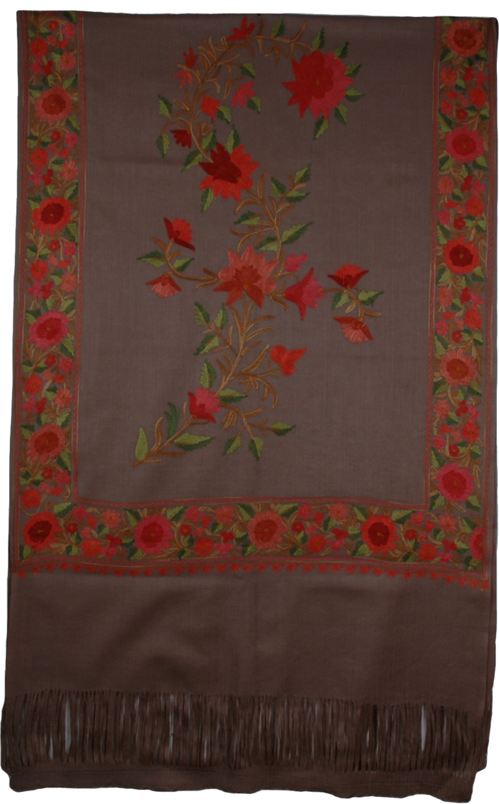 Kabul Floral Embroidery Indian Shawl, Ferra Floral Embroidered Shawl