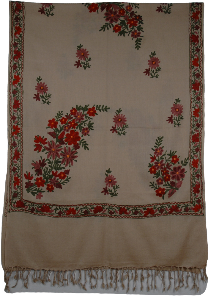 Sandstone Embroidery Indian Shawl, Pine Cone Embroidered Shawl