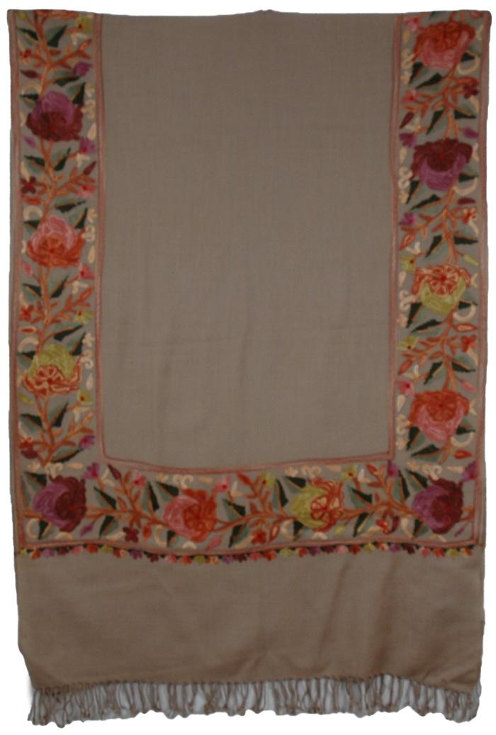Khaki Border Embroidery Kashmiri Shawl, Floral Border Khaki Embroidered Scarf