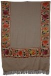 Khaki Border Embroidery Kashmiri Shawl [2738]