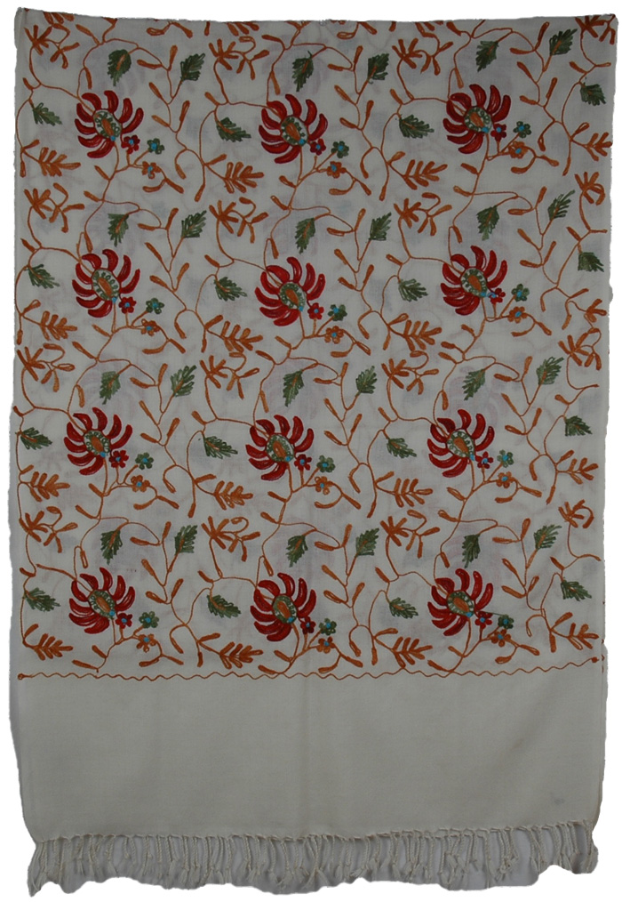 Flowers Embroidery Indian Airy Shawl, Creeper Petals Embroidered Stole