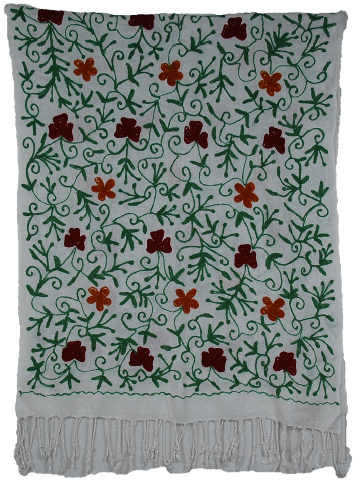 Embroidered Indian Scarf Stole, Flower Bud Embroidered Stole