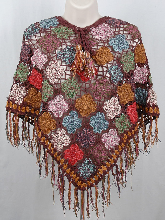 Como Brown Crochet Poncho, Mild Weather Crochet Poncho in Congo Brown