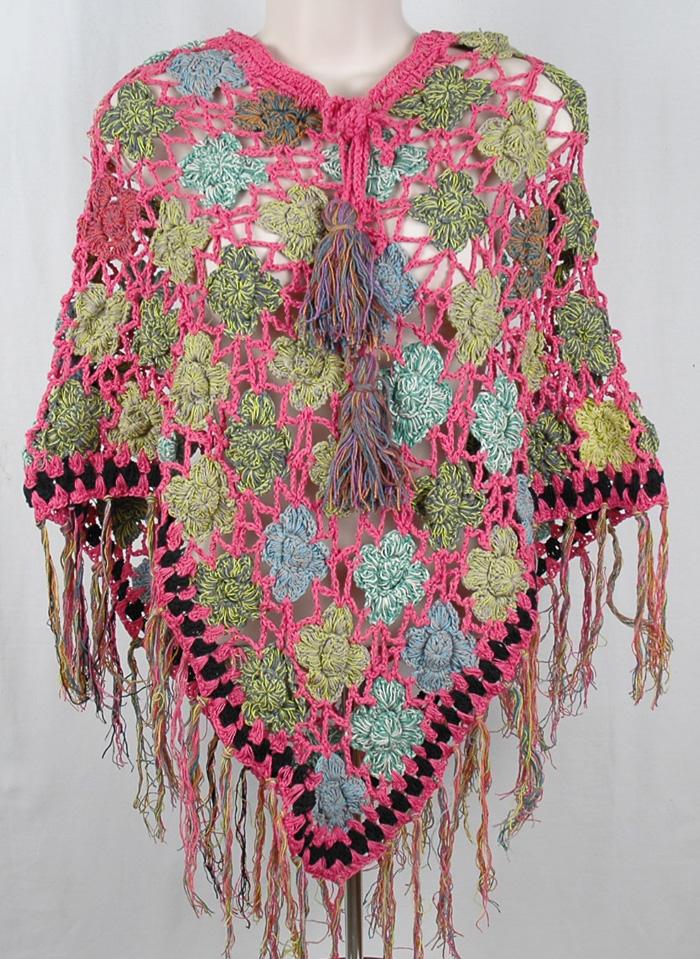 Pink Bright Crochet Handmade Poncho, Sunny Pink Crochet Poncho