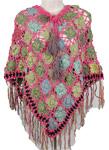 Pink Bright Crochet Handmade Poncho [2749]