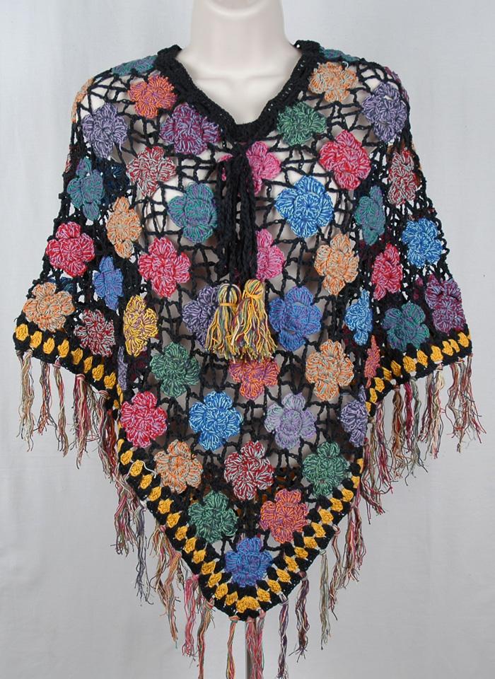 Crochet Pattern Poncho Handwork Black, Black Handwoven Fashion Crochet Poncho
