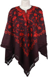Red Ribbon Black Wool Poncho