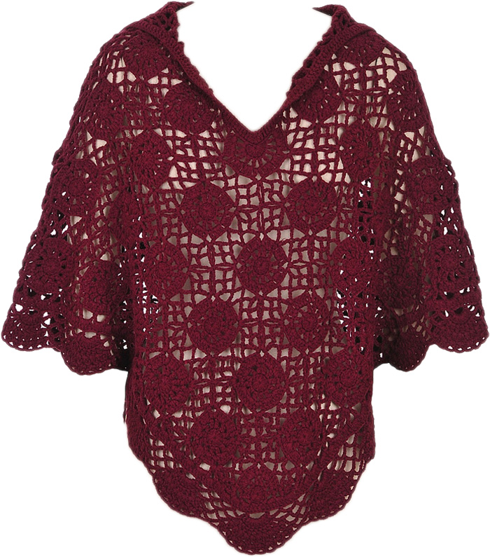 Maroon Crochet Poncho with Hoodie, Winery Fashion Hooded Crochet Top