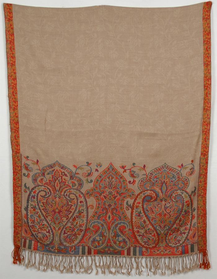 Cream Shawl with Knit Embroidery, Sandrift Knit Shawl Stole