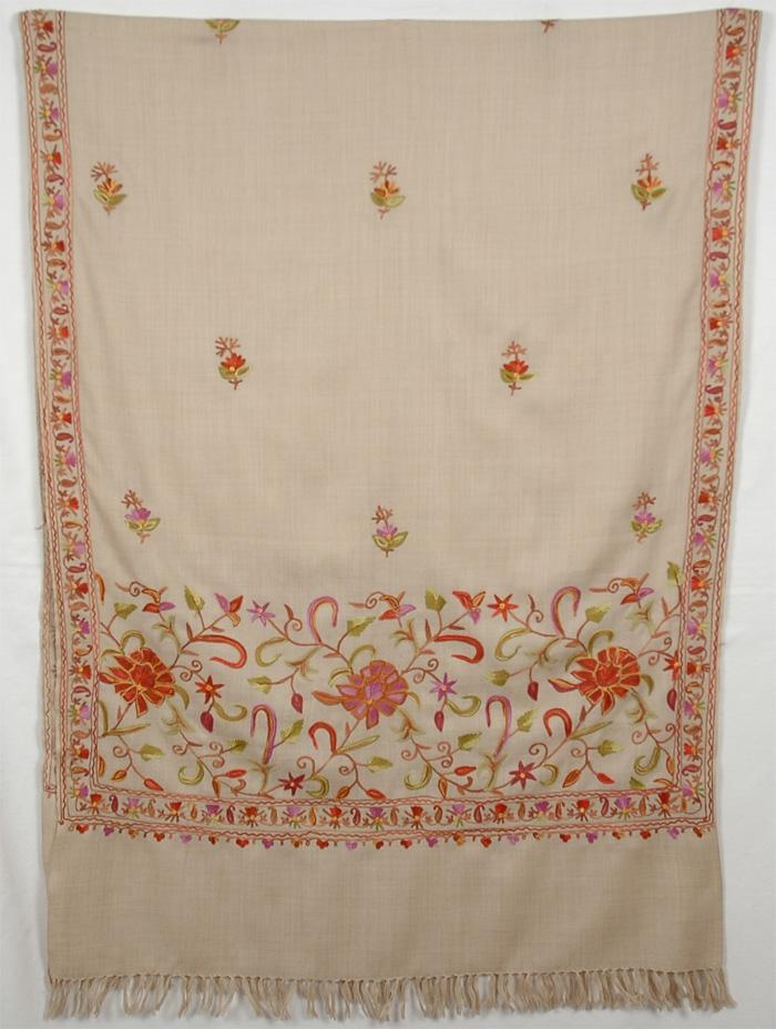Cream Colored Embroidery Shawl, Vanilla Embroidery Shawl Stole