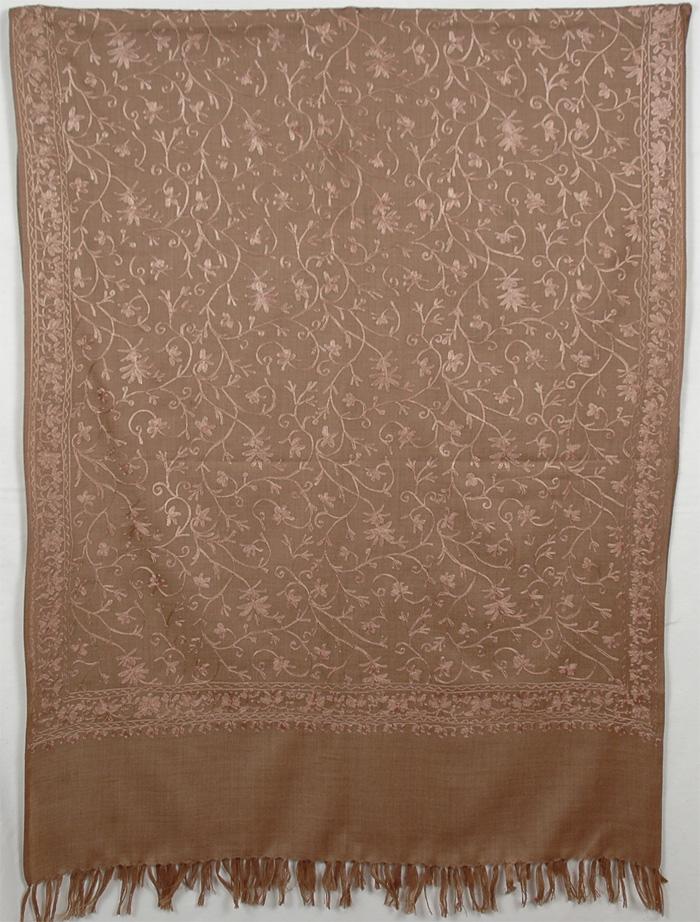 Brown Embroidery Shawl, Brown Embroidery Shawl Stole