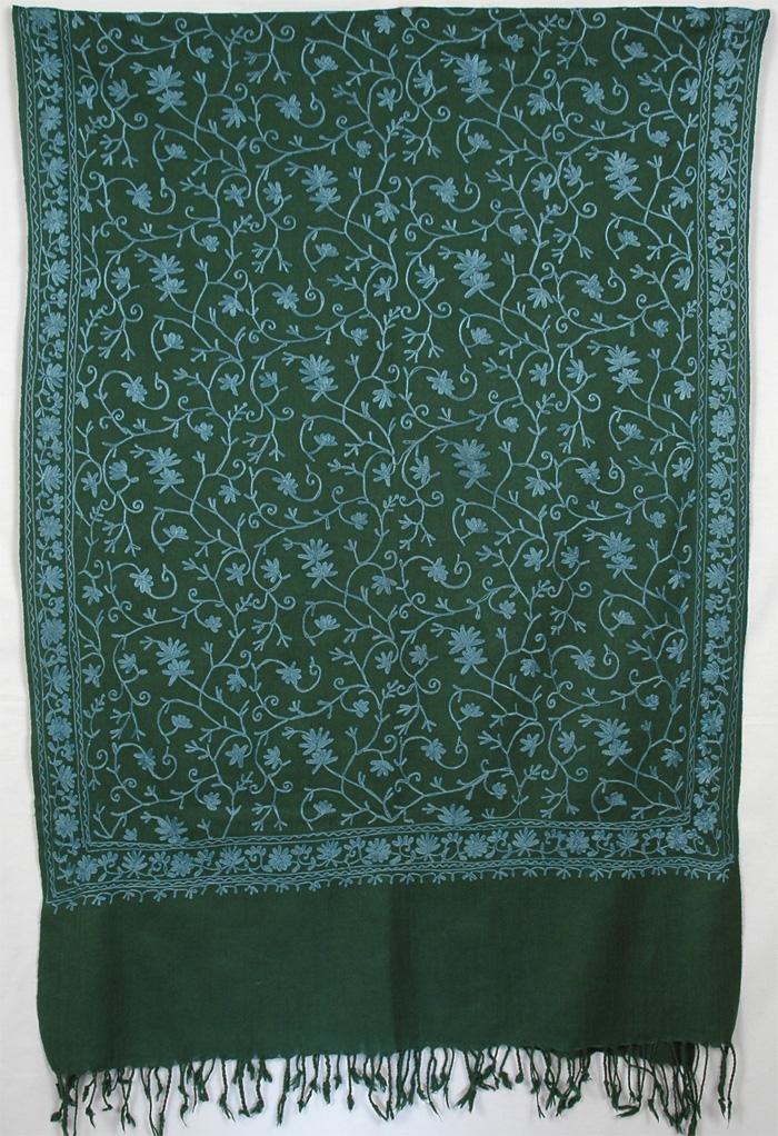 Green Embroidery Shawl, Green Embroidery Shawl Stole
