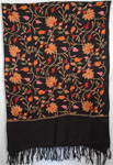 Black Embroidery Shawl Stole