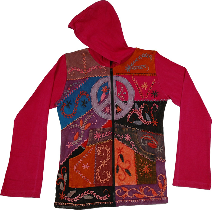 Pink Embroidery Winter Jacket, Monza Peace Floral Hooded Jacket