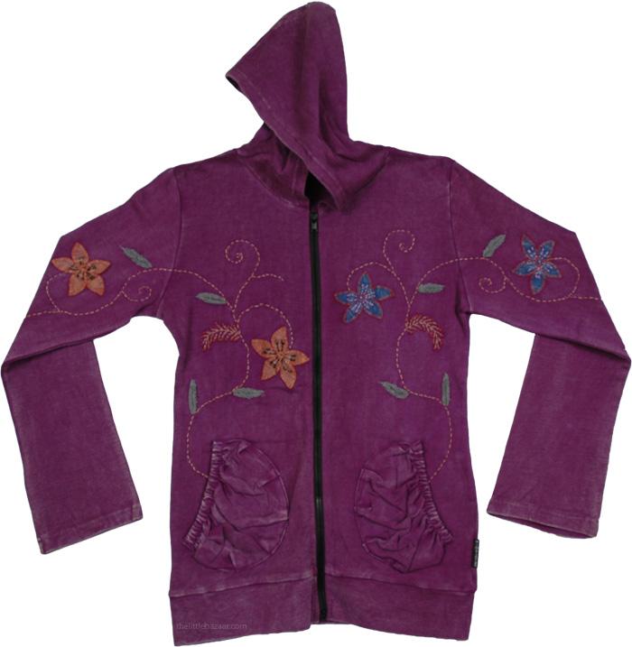 Purple Embroidery Winter Jacket, Purple Sense Embroidery Jacket