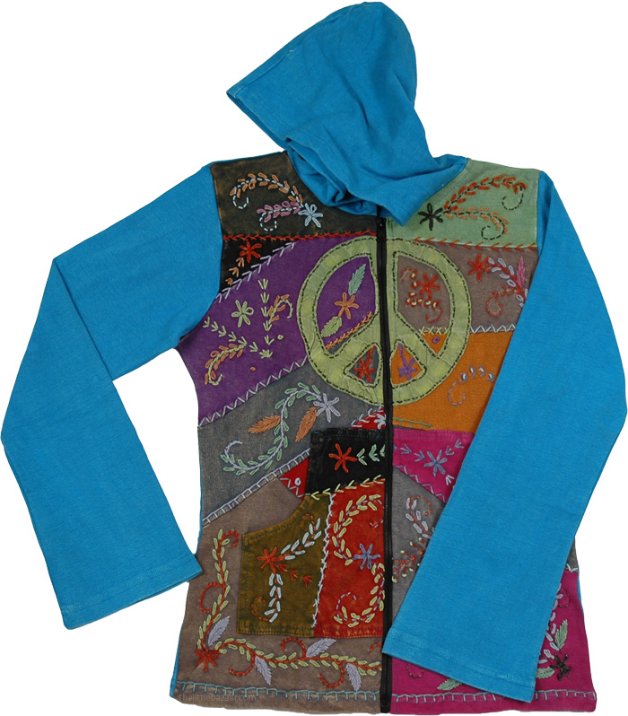 Blue Embroidery Winter Jacket, Cerulean Peace Embroidered Boho Jacket