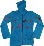 Blue Embroidery Winter Jacket [3552]