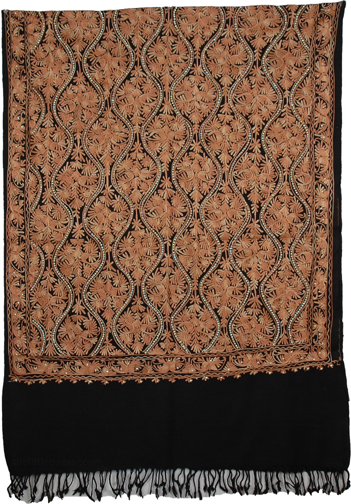 Sequined Embroidery Woolen Shawl, Copper Dazzle Fashion Stole