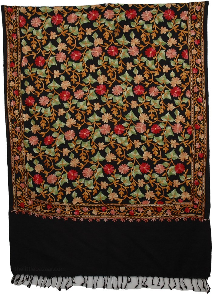Black Floral Embroidery Shawl, Blooms Woolen Black Stole