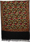 Black Floral Embroidery Shawl [3559]