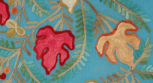 Blooms Woolen Turquoise Stole