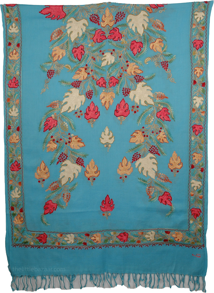 Blue Floral Embroidery Shawl, Blooms Woolen Turquoise Stole