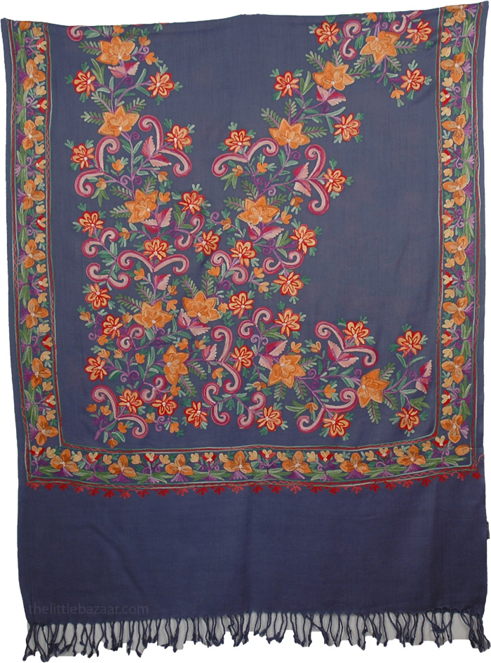 Dark Blue Floral Embroidery Shawl, Blooms Woolen Navy Blue Embroidered Stole