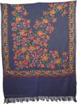 Dark Blue Floral Embroidery Shawl [3561]