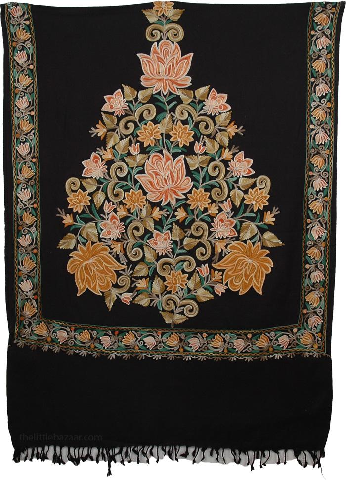 Black Flowers Kashmiri Embroidery Shawl, Classy Floral Wool Black Stole