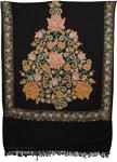 Black Flowers Kashmiri Embroidery Shawl [3563]