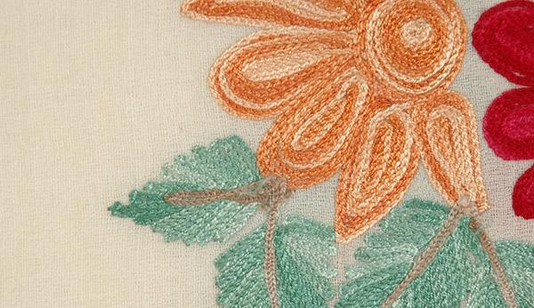 Border Embroidery Cream Stole