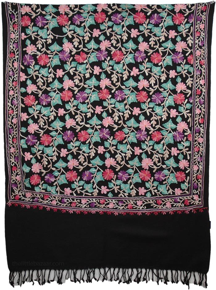 Embroidered Flowers Black Shawl, Radiance Woolen Black Stole