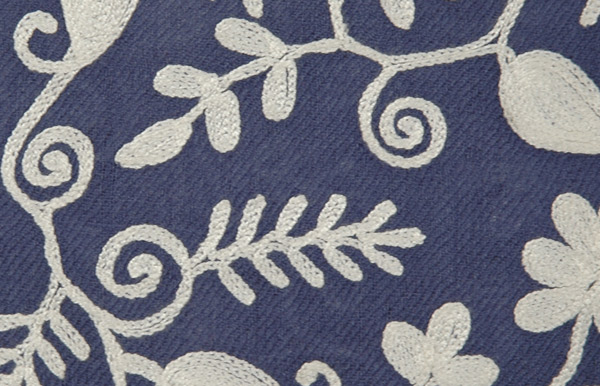 Blue Embroidery Wool Stole