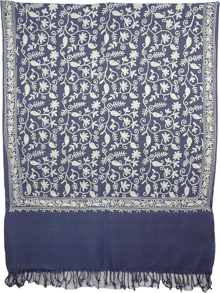 Blue Flowers Kashmiri Embroidery Shawl, Blue Embroidery Wool Stole